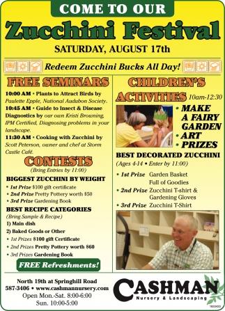 Come to Our Zucchini Festival