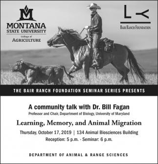 A Community Talk with Dr. Bill Fagan