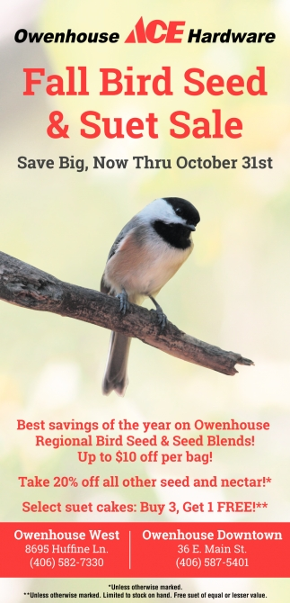 Fall Bird Seed & Suet Sale