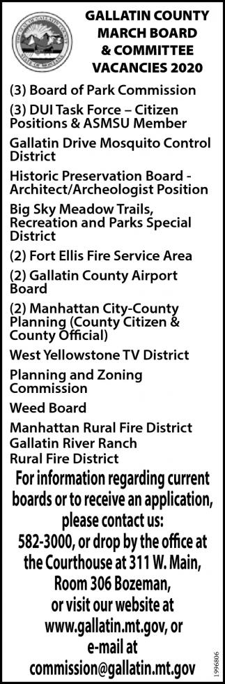 March Board & Committee Vacancies