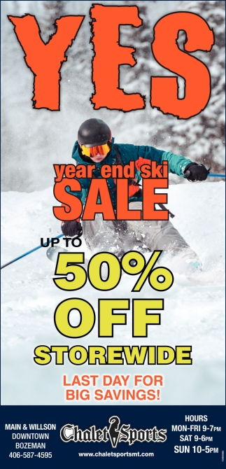 Year End Ski Sale Up To 50% OFF