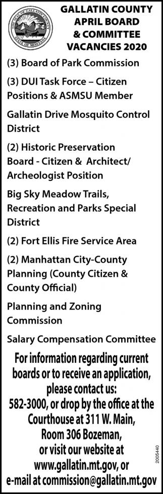 April Board & Committee Vacancies 20202